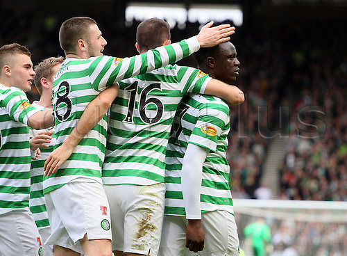 14.04.2013 Glasgow, Scotland. Celtic players celebrate with goal scorer Victor Wanyama during the Scottish Cup Semi-final  game between Dundee United and Celtic from Hampden Park.