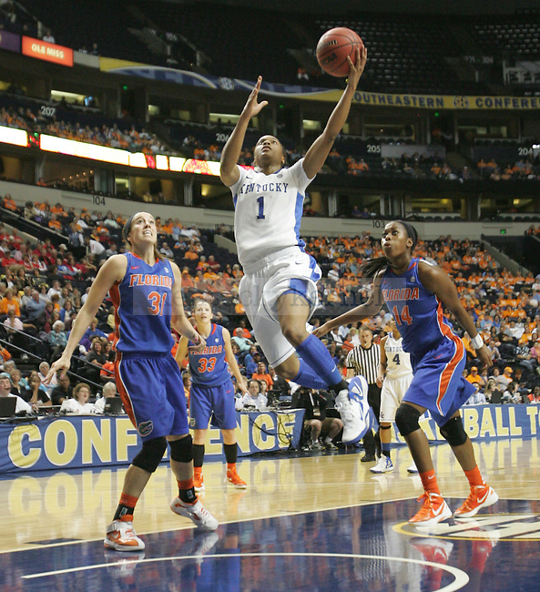 Junior guard A'dia Mathies shoots a layup during the first half of the UK Hoops vs. Florida SEC Tournament at Bridgestone Arena in Nashville, Tenn., on Friday, Mar. 2, 2012. Photo by Tessa Lighty | Staff