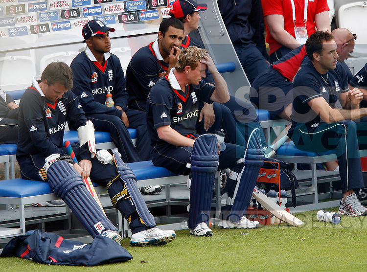 England's Paul Collingwood looks on dejected