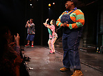 Nick kohn, Grace Choi, Danielle K. Thomas during the 'Avenue Q' 15th Anniversary Performance Curtain Call at New World Stages on July 31, 2018 in New York City.