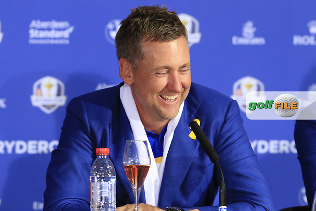 Ian Poulter (Team Europe) at the press conference after Europe win the Ryder Cup 17.5 to 10.5 at the end of Sunday's Singles Matches at the 2018 Ryder Cup 2018, Le Golf National, Ile-de-France, France. 30/09/2018.<br /> Picture Eoin Clarke / Golffile.ie<br /> <br /> All photo usage must carry mandatory copyright credit (© Golffile | Eoin Clarke)