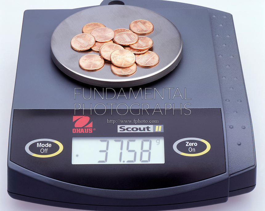 CALCULATING MASS<br /> A Pile of Pennies<br /> To obtain the number of coins in the pile the mass (weight) of the pile is multiplied by the pennies/g.