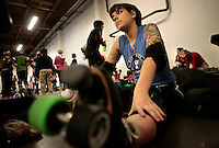 04072010-  Rat City Roller Girls, Sockit Wenches, Anna Stevens, college of education student, Ima handful, practice in Ballard, Seattle University Magazine
