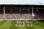Players in front of the kop during the Sky Bet League One match at Bramall Lane Stadium. Photo credit should read: Simon Bellis/Sportimage