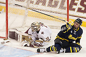 Thatcher Demko (BC - 30), Kyle Singleton (Merrimack - 14) - The Boston College Eagles defeated the visiting Merrimack College Warriors 2-1 on Wednesday, January 21, 2015, at Kelley Rink in Conte Forum in Chestnut Hill, Massachusetts.