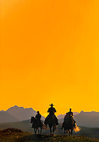 Mountain View, Alberta, Canada, July 2008. Rancher Dan Nelson takes us on a horse back trail ride in the hills connecting the Albertan prairie with the mountains of Waterton National Park. Photo by Frits Meyst/Adventure4ever.com<br /> <br /> ***This image is Digitally manipulated to fit a magazine cover***