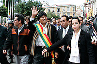 La Paz, Bolivia<br /> A picture dated January 22, 2006 shows Bolivian President Evo Morales walking from the Congress Building to the Government Palace during the inaguration of Evo Morales at the balcony of the Government Palace.