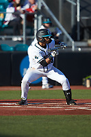Eric Brown (20) of the Coastal Carolina Chanticleers squares to bunt against the Illinois Fighting Illini at Springs Brooks Stadium on February 22, 2020 in Conway, South Carolina. The Fighting Illini defeated the Chanticleers 5-2. (Brian Westerholt/Four Seam Images)