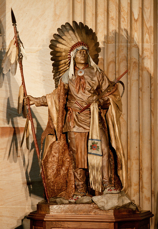 wyoming7(bc)090700-- A statue of Chief Washakie was unveiled in Rotunda of the Capitol.