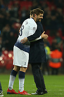 Tottenham Hotspur manager Mauricio Pochettino and Fernando Llorente of Tottenham Hotspur celebrate the victory after Tottenham Hotspur vs Borussia Dortmund, UEFA Champions League Football at Wembley Stadium on 13th February 2019