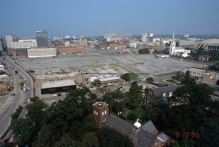 1996 September 10..Redevelopment..Macarthur Center.Downtown North (R-8)..PROGRESS.LOOKING WEST.FROM SCHOOL ADMIN BUILDING.CITY HALL AVENUE ON LEFT...NEG#.NRHA#..