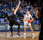 BROOKINGS, SD - NOVEMBER 6: Mike Daum #24 from South Dakota State University spots up for a jumper over Michael Finke #43 from Grand Canyon University during their game Tuesday night at Frost Arena in Brookings, SD. (Photo by Dave Eggen/Inertia)