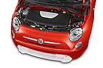 Car Stock 2014 Fiat 500e Hatchback 3 Door Hatchback Engine high angle detail view