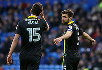 Russell Martin(captain) of Norwich City speaks to team mate Timm Klose during the Sky Bet Championship match between Cardiff City and Norwich City at Cardiff City Stadium, Wales, UK. Saturday, 04 February 2017