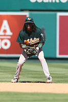 09/13/12 Anaheim, CA: Oakland Athletics second baseman Jemile Weeks #19during an MLB game played between the oakland Athletics and Los Angeles Angels at Angel Stadium. The Angels defeated the A's 6-0.