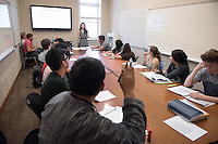 Jane Hong, assistant professor, history, teaches her class in Hinchliffe Hall, Oct. 30, 2015. Hong specializes in 20th-century U.S. immigration and engagement with the world, with a focus on Asia.<br /> (Photo by Marc Campos, Occidental College Photographer)