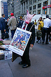 Greedy Pig Banker costume at the Occupy Wall Street Protest in New York City October 6, 2011.