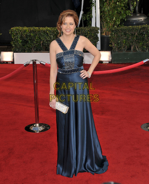 JENNA FISCHER.Attends The 14th Annual Screen Actors Guild Awards, held at The Shrine Auditorium in Los Angeles, California USA, January 27th 2008..full length blue dress hand on hip.CAP/DVS.©Debbie VanStory/Capital Pictures