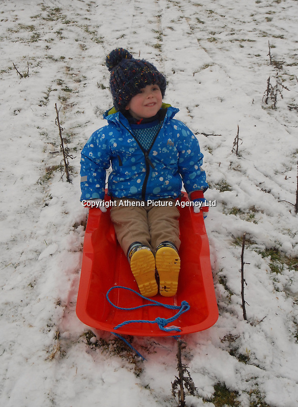 SNOW WEATHER WALES<br /> Pictured: A young boy enjoys the snow in Storey Arms in the Brecon Beacons, Wales, UK. Friday 13 January 2017<br /> Re: Heavy snow affects parts of the UK