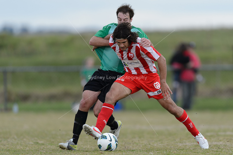 LANGWARRIN - 16 September: Josh Groenwald of the Heart protects the ball at a pre-season match between Melbourne Heart and Peninsula XI at Lawton Reserve on 16 September 2012. (Photo by Sydney Low / syd-low.com)