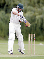 Sam Dishon bats for Shepherd's Bush during the Middlesex County Cricket League Division Two game between Harrow St Mary's and Shepherds Bush at<br /> Harrow on Sat July 19, 2014