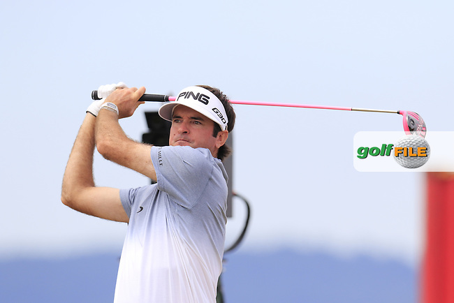Bubba Watson (USA) and caddy Ted Scott on the 18th tee during Thursday's Round 1 of the 2015 U.S. Open 115th National Championship held at Chambers Bay, Seattle, Washington, USA. 6/18/2015.<br /> Picture: Golffile | Eoin Clarke<br /> <br /> <br /> <br /> <br /> All photo usage must carry mandatory copyright credit (&copy; Golffile | Eoin Clarke)
