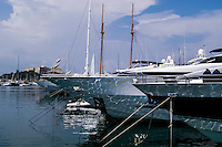 Luxury boats at the marina in Antibes, a resort town on the Mediterranean coast in southern France.