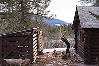 A man chops wood at the Battle Ridge Cabin in the Bridger Mountains near Bozeman, Montana.