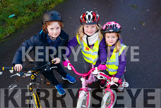 Mairead Moriarty, Abbie and Chloe Stephenson, pictured at the Tralee to Fenit Greenway Cycle, Tralee, on Sunday last.