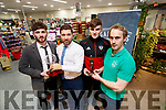 Shane Murphy being presented with the Player of the Championship award by Chris O'Driscoll Manager of Garvey's Tralee and Sean O'Shea receiving the Top Scorer of the Garveys Supervalu Kerry SFC with 1-29 from Eamonn Hickson of Terrace Talk.