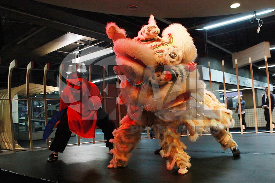 SAO PAULO, SP, 18 DE DEZEMBRO DE 2011 - ANO NOVO CHINES - Grupo folclorico faz apresentacao da danca do leao na estacao Paraiso do Metro, nesta tarde de quarta-feira (18), para divulgar o ano novo chines. FOTO RICARDO LOU - NEWS FREE