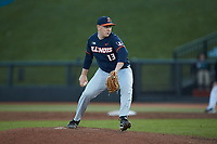 Illinois Fighting Illini relief pitcher Ryan Schmitt (13) in action against the Coastal Carolina Chanticleers at Springs Brooks Stadium on February 22, 2020 in Conway, South Carolina. The Fighting Illini defeated the Chanticleers 5-2. (Brian Westerholt/Four Seam Images)