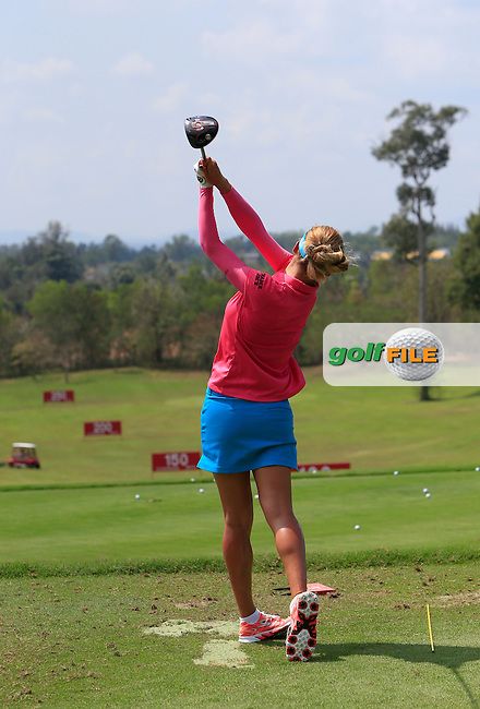 Belen Mozo (ESP) on the driving range during the Tuesday Practice Day of the Honda LPGA at the Siam Country Club Old Course in Pattaya on Tuesday 24th February 2015.<br /> Picture:  Thos Caffrey / www.golffile.ie