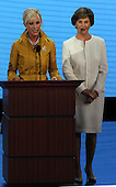 St. Paul, MN - September 1, 2008 -- Mrs. Cindy McCain, wife of United States Senator John McCain, left, and first lady Laura Bush, right, issue a joint appeal for help to aid affected parts of the Gulf Coast in the aftermath of Hurricane Gustav on day 1 of the 2008 Republican National Convention in Saint Paul, Minnesota on Monday, September 1, 2008..Credit: Ron Sachs / CNP.(RESTRICTION: NO New York or New Jersey Newspapers or newspapers within a 75 mile radius of New York City)