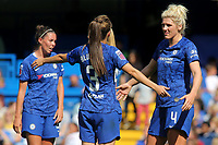 Millie Bright of Chelsea talks tactics with Hannah Blundell during Chelsea Women vs Tottenham Hotspur Women, Barclays FA Women's Super League Football at Stamford Bridge on 8th September 2019