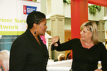 "Guiding Light's Kim Zimmer ""Reva"" chats with Brenda Waters (emcee from KDKA-TV) at the Young Women's Breast Cancer Foundation event - Reach to Recovery - ""Spring into Shape!"" Luncheon and Fashion Show on April 6, 2008 at Embassy Suites, Coraopolis, Pennsylvania. The event also included a Chinese Auction and an autograph session with the Guiding Light actors. (Photo by Sue Coflin/Max Photos)"