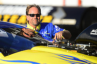 Sept. 29, 2012; Madison, IL, USA: NHRA pro stock driver Mike Janis during qualifying for the Midwest Nationals at Gateway Motorsports Park. Mandatory Credit: Mark J. Rebilas-