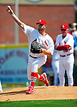 10 March 2010: St. Louis Cardinals' pitcher Brad Penny warms up prior to a Spring Training game against the Washington Nationals at Roger Dean Stadium in Jupiter, Florida. The Cardinals defeated the Nationals 6-4 in Grapefruit League action. Mandatory Credit: Ed Wolfstein Photo