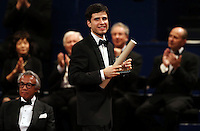PICTURE BY VAUGHN RIDLEY/SWPIX.COM - Leeds International Piano Competition 2012 - Leeds Town Hall, Leeds, England - 15/09/12 - Andrejs Osokins of Latvia with the 4th place Award.