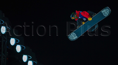 27.02.2016. Toyen, Big Jump Oslo, Norway.  Red Bull X Games Oslo 2016. Men's Snowboard Big Air Final. Darcy Sharpe of Canada in action during the men's Snowboard Big Air Final at the Red Bull X Games Oslo 2016 in Toyen Big Jump  Oslo, Norway.