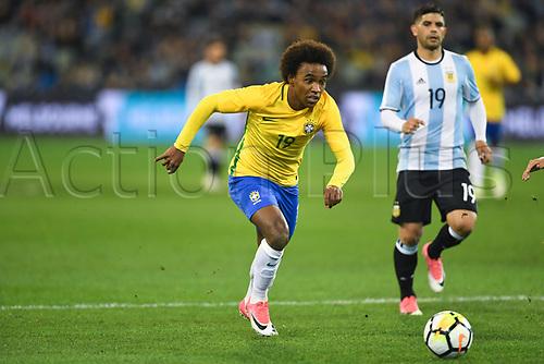 June 9th 2017, Melbourne Cricket Ground, Melbourne, Australia; International Football Friendly; Brazil versus Argentina; Willian Silva of Brazil breaks towards goal