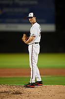 Bowie Baysox starting pitcher Matthew Grimes (38) looks in for the sign during the second game of a doubleheader against the Trenton Thunder on June 13, 2018 at Prince George's Stadium in Bowie, Maryland.  Bowie defeated Trenton 10-1.  (Mike Janes/Four Seam Images)