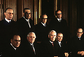 "The 9 Justices of the United States Supreme Court posed for their official ""family "" group photo at the U.S. Supreme Court in Washington, D.C. on Monday, April 24, 1972. Front row, left to right: Associate Justice Potter Stewart; Associate Justice William O. Douglas; Chief Justice of the United States Warren E. Burger; Associate Justice William J. Brennan, Jr; and Associate Justice Byron R. White.  Back row, left to right: Associate Justice Lewis F. Powell, Jr.; Associate Thurgood Marshall; Associate Justice Harry A. Blackmun; and Associate Justice William H. Rehnquist..Credit: Benjamin E. ""Gene"" Forte / CNP"