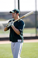 David DeJesus #12 of the Oakland Athletics participates in spring training workouts at the Athletics complex on February 23, 2011  in Phoenix, Arizona. .Photo by:  Bill Mitchell/Four Seam Images.