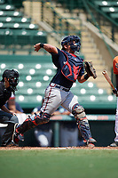 Atlanta Braves catcher Lucas Herbert (2) throws down to second base during an Instructional League game against the Baltimore Orioles on September 25, 2017 at Ed Smith Stadium in Sarasota, Florida.  (Mike Janes/Four Seam Images)