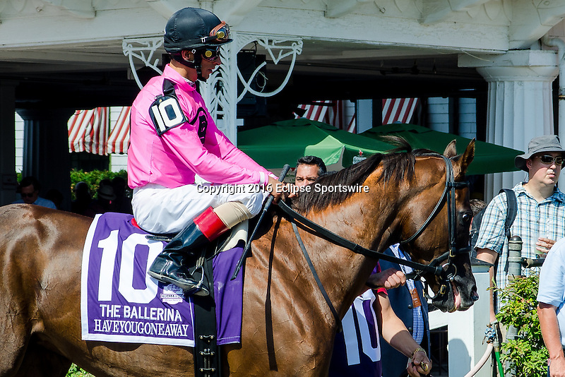SARATOGA SPRINGS - AUGUST 27: Haveyougoneaway #10, ridden by John Velazquez, during the post parade before the Ballerina Stakes on Travers Stakes Day at Saratoga Race Course on August 27, 2016 in Saratoga Springs, New York. (Photo by Dan Heary/Eclipse Sportswire/Getty Images)