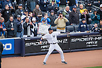 Derek Jeter (Yankees),<br /> APRIL 7, 2014 - MLB :<br /> Fans take pictures of Derek Jeter of the New York Yankees as he warms up before the Yankees home opener against the Baltimore Orioles at Yankee Stadium in Bronx, New York, United States. (Photo by Thomas Anderson/AFLO) (JAPANESE NEWSPAPER OUT)
