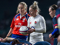 Referee Amy Perrett, Natasha Hunt and Jade Le Pesq at a scrum, England Women v France Women in a 6 Nations match at Twickenham Stadium, London, England, on 4th February 2017 Final Score 26-13.