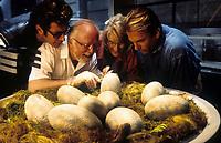 Jurassic Park (1993)<br /> Richard Attenborough, Jeff Goldblum, Sam Neill &amp; Laura Dern<br /> Jeff Goldblum, Richard Attenborough, Laura Dern and Sam Neill watch dinosaur eggs hatch<br /> *Filmstill - Editorial Use Only*<br /> CAP/KFS<br /> Image supplied by Capital Pictures