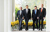 Washington, DC - November 3, 2009 -- (Left to Right) European Council High Representative Javier Solana , United States President Barack Obama, President of the European Commission JosÈ Manuel Barroso and Prime Minister Fredrik Reinfeldt of Sweden, walk from the Oval Office to the Cabinet Room to participate in the U.S.-European Union Summit at the White House, Tuesday, November 3, 2009 in Washington, DC..Credit: Olivier Douliery / Pool via CNP